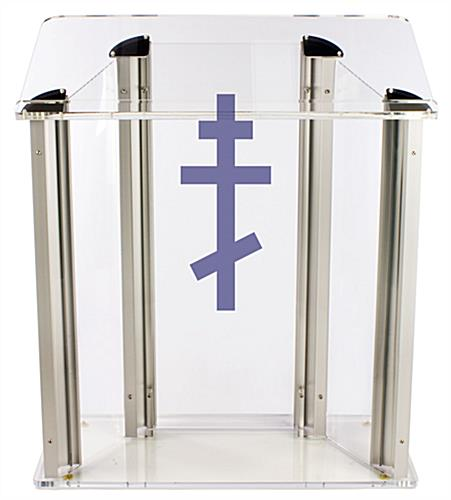 "Wide Pulpit with Orthodox Cross is Made from .75"" Thick Acrylic"
