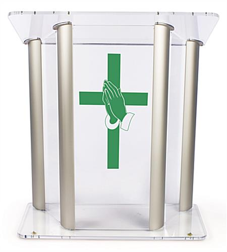 Wide Pulpit with Prayer Hands Cross Graphic