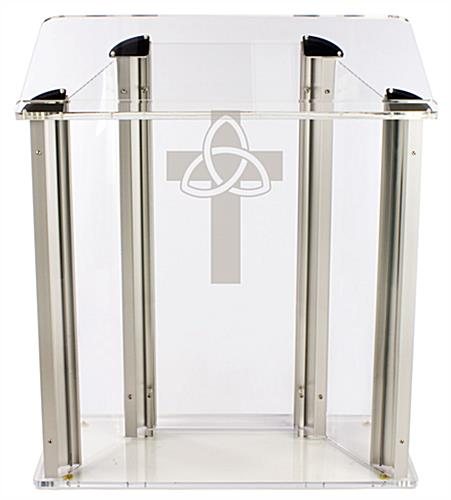 "Wide Pulpit with Trinity Cross is Made from .75"" Thick Acrylic"