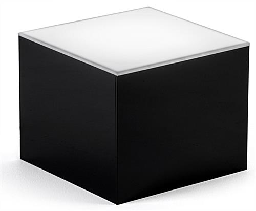 LED cube display riser with glossy acrylic black sides