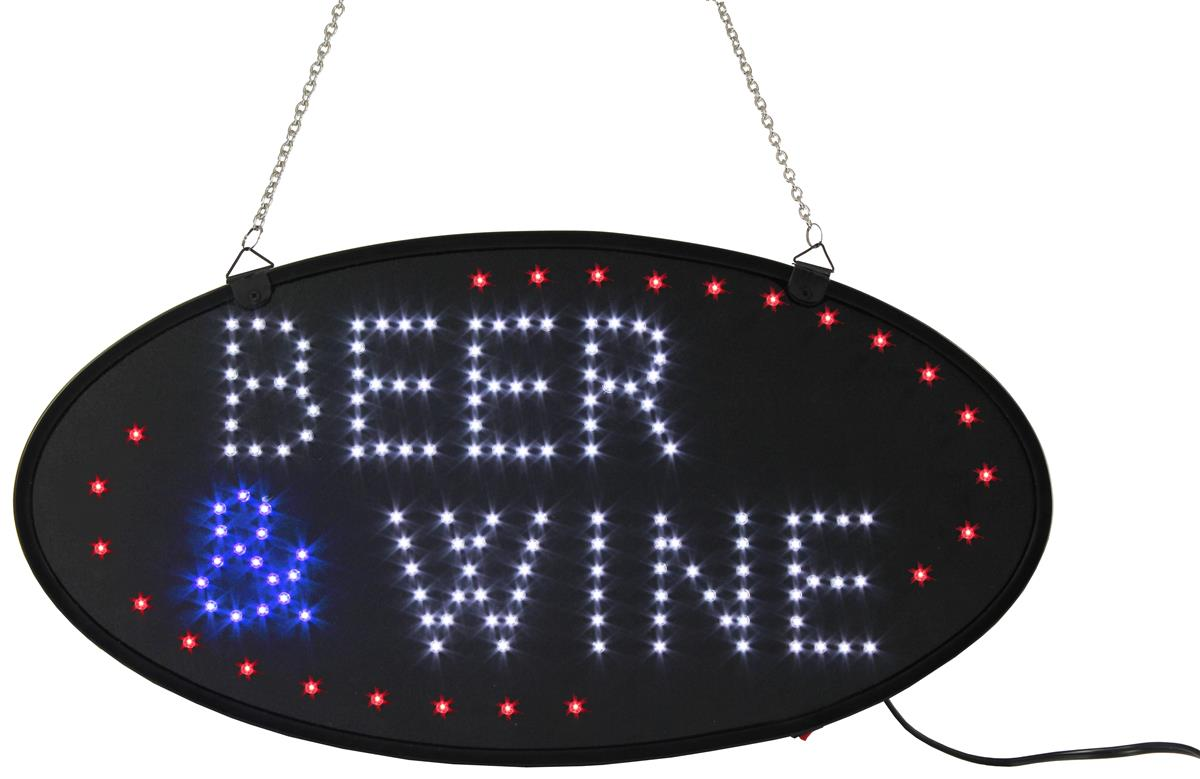 """Electronic LED Sign - \""""Beer and Wine\"""" Message"""