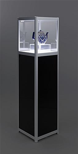 Illuminated panel display pedestal with 12 hours of battery life per use