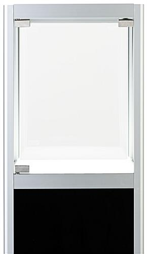 Illuminated panel display pedestal with hinged door loading style