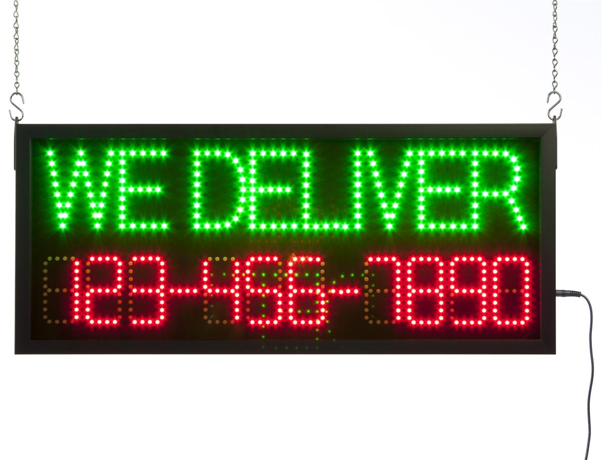 "Displays2go ""WE DELIVER"" LED Sign, Programmable Telephone..."