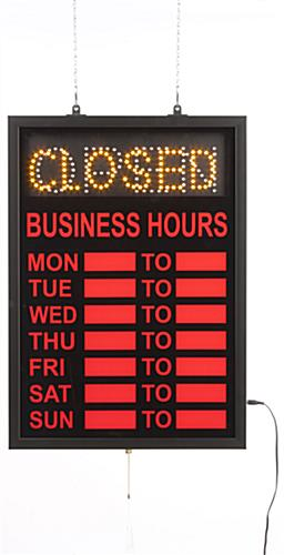 open hours sign