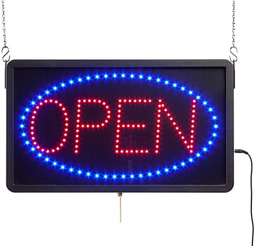 glowing led open sign 3 different programmable animations
