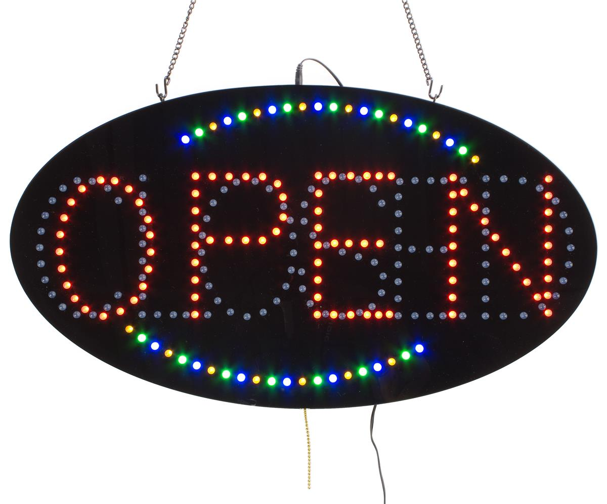 """Displays2go """"OPEN/CLOSED"""" Animated LED Sign with Hanging ..."""