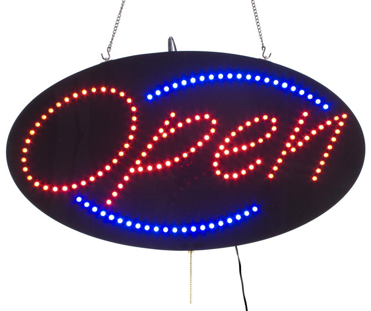 oval led open sign red amp blue lighting