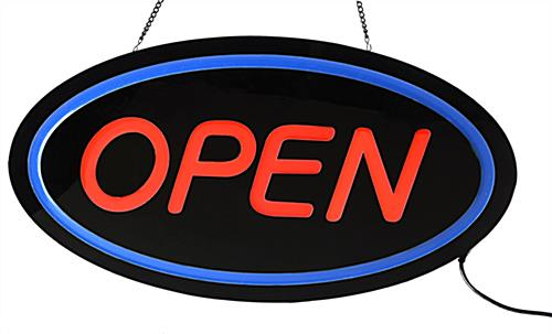 Oval LED Open Sign with Red & Blue Neon Lighting
