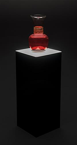 Light up black acrylic display pedestal - lighted base for glass sculpture