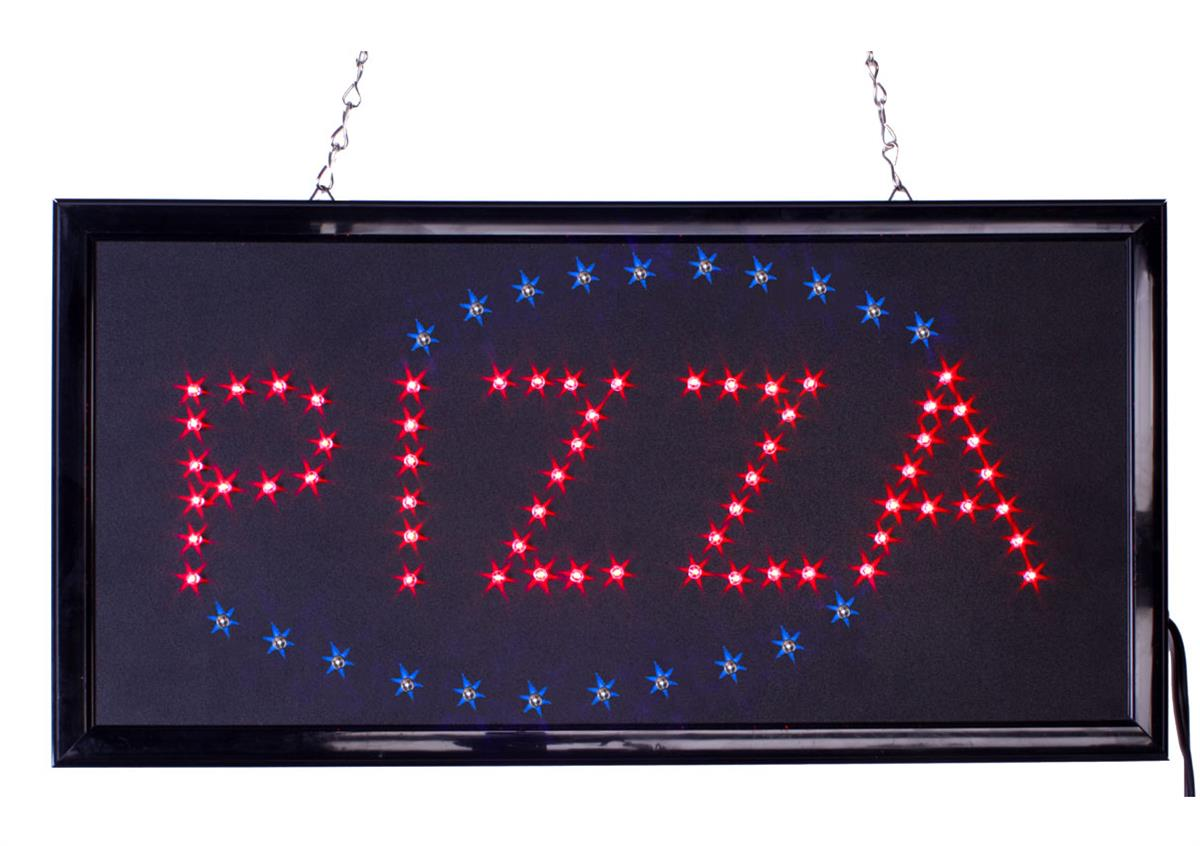 Flashing Red Light >> Pizza LED Sign | Animated Light Up Sign | Red & Blue