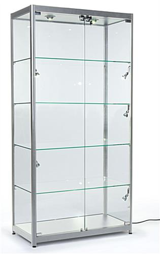 Silver LED Illuminated Display Cabinet