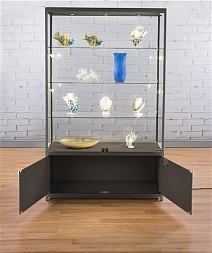 LED Retail Display Cabinet with Locking Storage Area