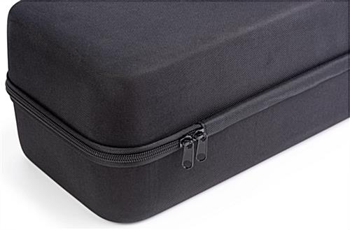 Covered hard travel case for lighting with two-way zipper