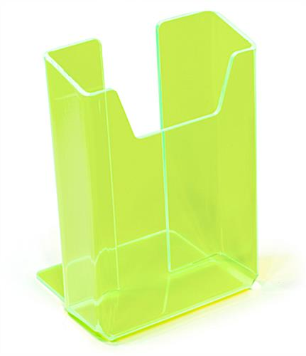 Green plastic brochure holder for tabletops and counters