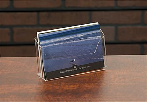 Post card pocket acrylic holder on table