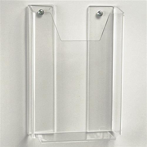 custom wall mount brochure holder clear pocket for pamphlets. Black Bedroom Furniture Sets. Home Design Ideas