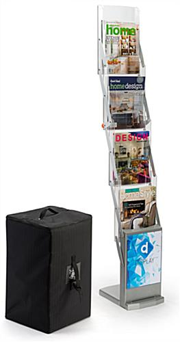 Zig zag magazine stand with carrying case