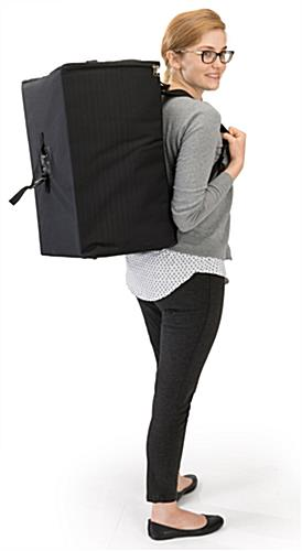Zig zag magazine stand with backpack carrying case
