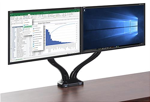 Black Dual Arm Monitor Mount