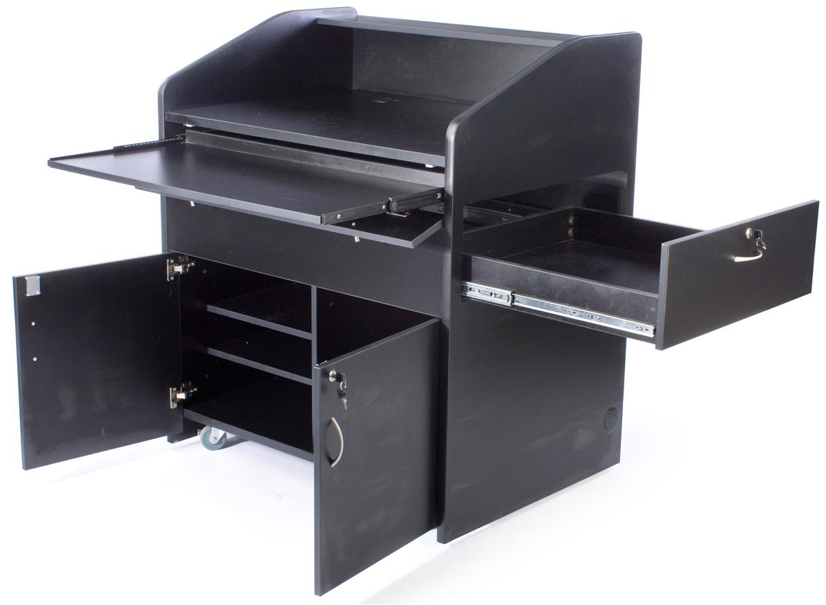 """Displays2go 41"""" Multimedia Podium with Cabinet, Side Draw..."""