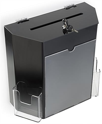 Black Suggestion Box with 2 Pockets - Tabletop or Wall Mount