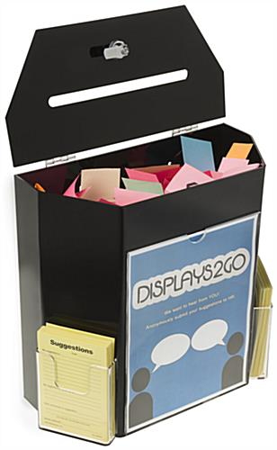 Black Suggestion Box with 2 Pockets - Lockable Lid