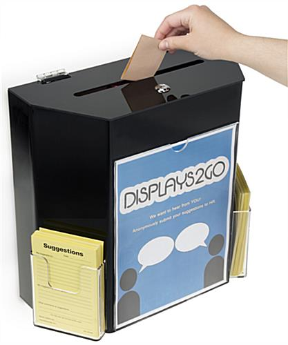 Black Suggestion Box with 2 Pockets in Clear Finish