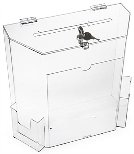 Clear Suggestion Box with Brochure Pockets - Includes Mounting Hardware