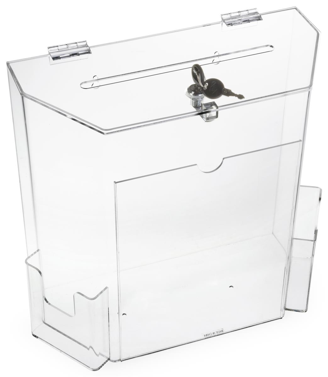 Clear Suggestion Box With Brochure Pockets Acrylic