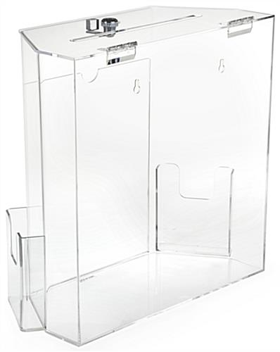 Clear Suggestion Box with Brochure Pockets - Tabletop or Wall Mounting