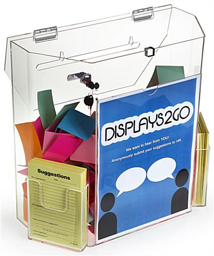 Clear Suggestion Box with Brochure Pockets - See Through Construction