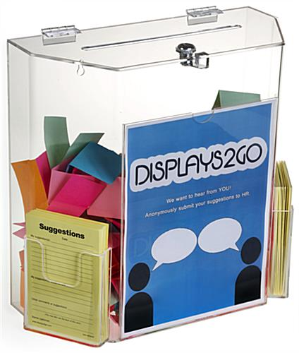 Clear Suggestion Box with Brochure Pockets for Collections