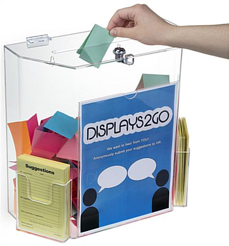 Clear Suggestion Box with Brochure Pockets & Set of 2 Keys