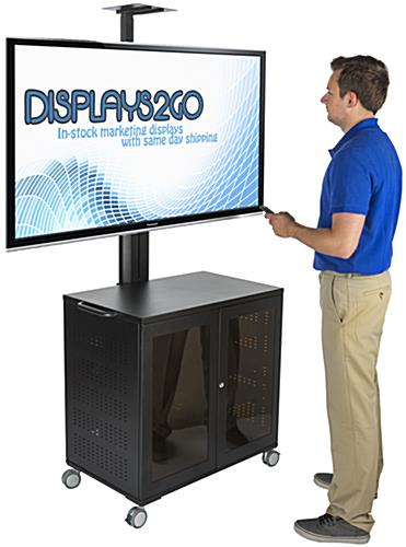 Floor Standing TV Cart With Power Management, Height Adjustable Shelves