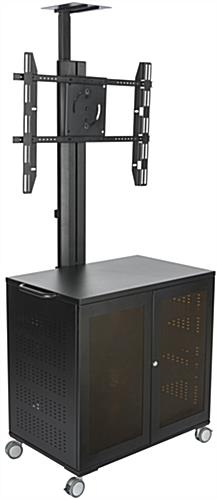 Floor Standing TV Cart With Power Management, Black Finish