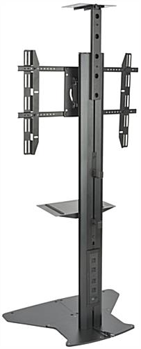Floor Standing TV Stand With Power Supply, Black Finish