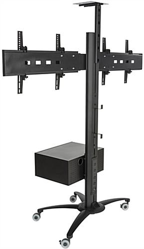 Dual Screen TV Stand With Power Distribution, Wheeled Base