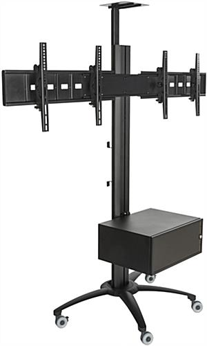 Dual Screen TV Stand With Power Distribution, Aluminum Column