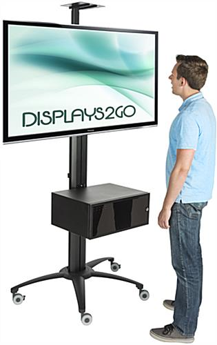 "Rolling TV Stand With Integrated Power Strip for 30"" - 84"" Screens"