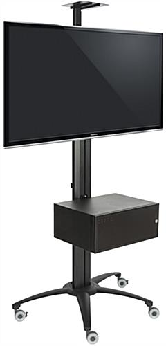 Black Rolling TV Stand With Integrated Power Strip