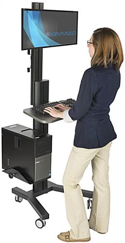 Mobile Sit Stand Monitor Desk
