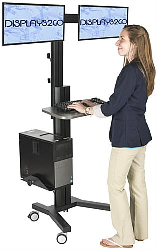 Dual Monitor Sit Stand Cart for Professional Environments
