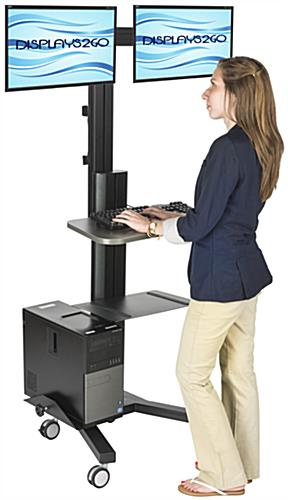 Multi-Monitor Standing Computer Cart, Sit or Stand