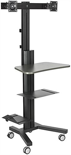 Multi-Monitor Standing Computer Cart, Black Finish