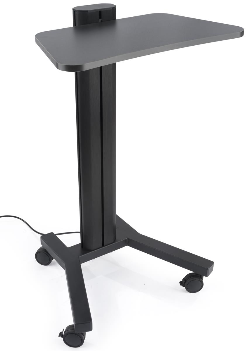 Etonnant Height Adjustable Laptop Stand, Wheeled, Integrated Power Outlets  Black