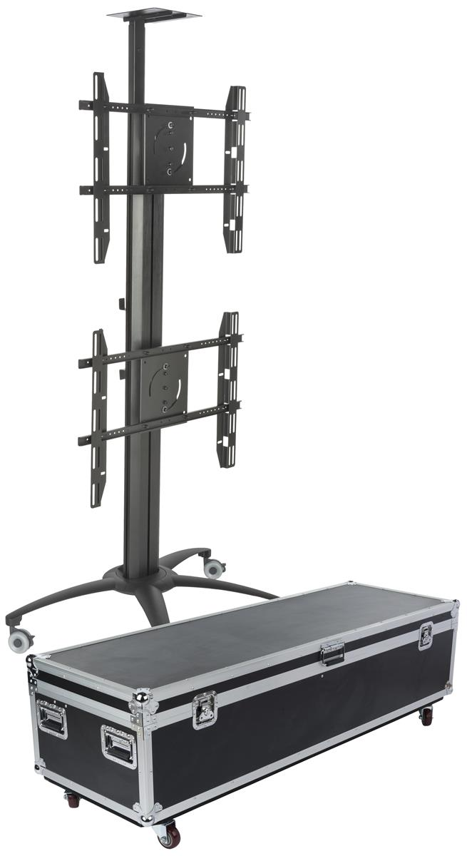Heavy Duty Stacked Screen Stand On Wheels Dual Tv Mount
