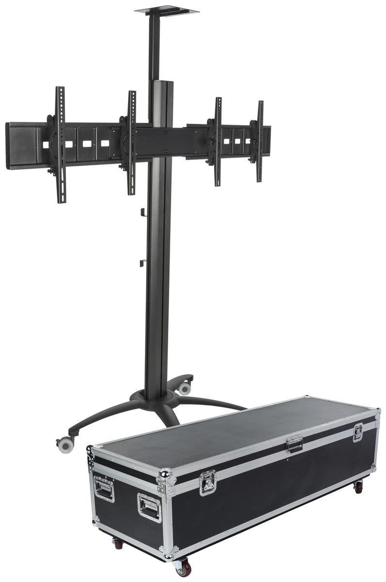 Industrial Tv Stand With Case Supports 2 Flat Panel Monitors
