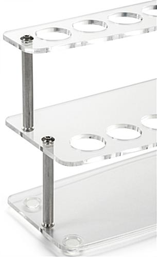 2 Tier Curved Cosmetic Display Station with Metal Standoffs
