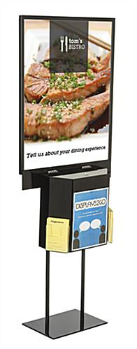 Black Sign Stand with Sweepstakes Box for Floor Display